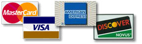 We accept Mastercard, American Express, discover card and Visa